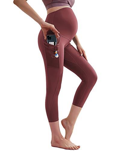 Maacie Pantalones de yoga de maternidad de cintura alta para mujeres embarazo, leggings deportivos elásticos con bolsillos