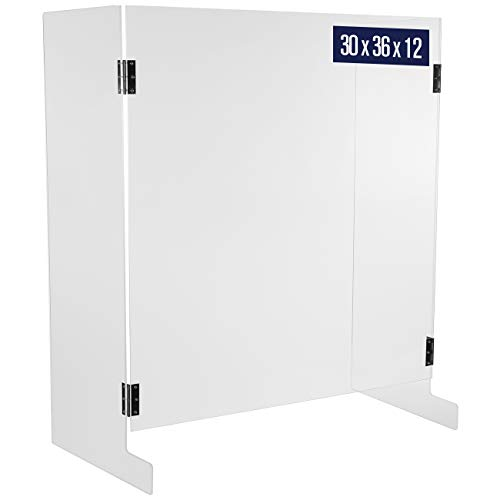 Sneeze Guard Shield for Counter - 30'W x 36'H x 12'D, U Shaped Cough and Sneeze Guard, Pass Through Opening, 5 mm Thick Clear Acrylic, Plastic Shield Protection on Front and Sides