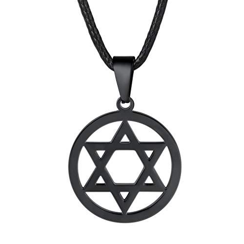 PROSTEEL Collar de Nombre de Acero Inoxidable Colgante de Estrella de David Sencilla de Acero Inoxidable con Cadena Cuero 60cm Colgante Religioso para Hombre Mujer Niños