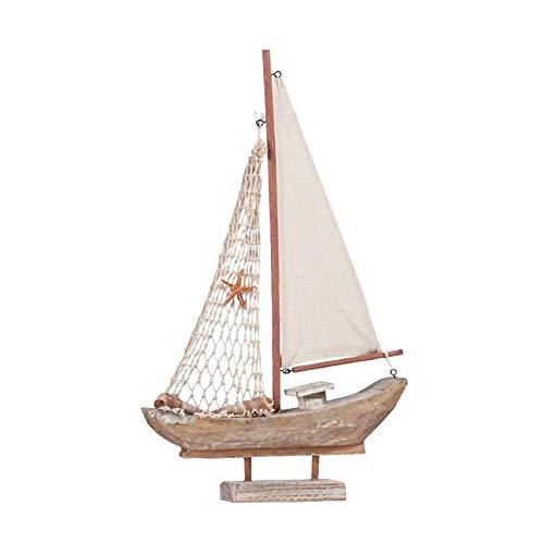 Guve Decorazione del Modello di Barca - Set di Decorazioni per la casa in Legno per Barche a Vela, Rete da Pesca. Design Nautico,(L*W*H) 26.5 * 5 * 42.5cm