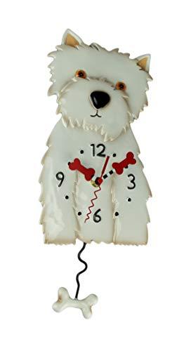 Allen Designs Westin The White Westie Dog Pendulum Wall Clock