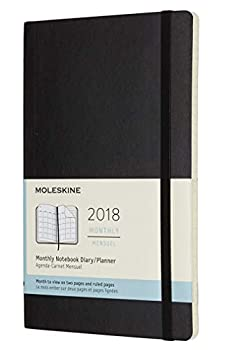 Moleskine Classic 12 Month 2018 Monthly Planner Soft Cover Large  5  x 8.25   Black