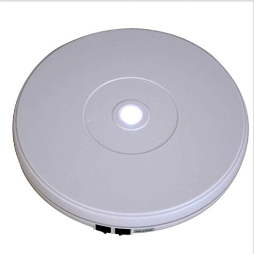 Turntable Pantalla eléctrica giratoria, Soporte de exhibición eléctrica con LED Función de Carga for la joyería Relojes Perfumes Bolsas y coleccionables (20 cm) (Color : White)