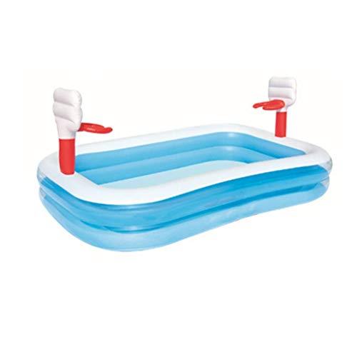 Natación piscina inflable Con aro de baloncesto, juegos de agua Parque juguete de la piscina piscina piscina Ocean Juego Ball Pool familia azul parque acuático (Tamaño: 253 * 168cm) kairui (Tamaño: 25