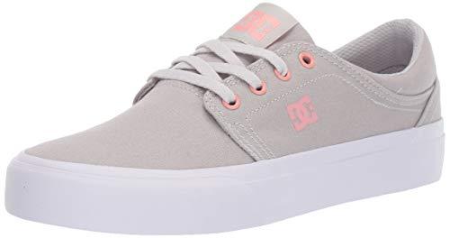 DC Women's Trase TX Skate Shoe, Grey/White, 5 M US