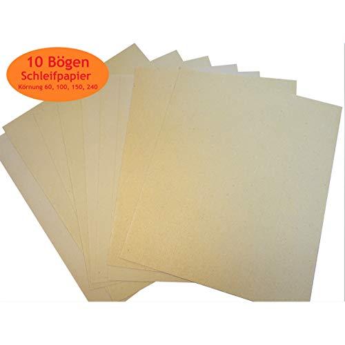 1a-becker 10 Blatt Schleifpapier Schmirgelpapier 60,100,150,240er Körnung gemischt im Set