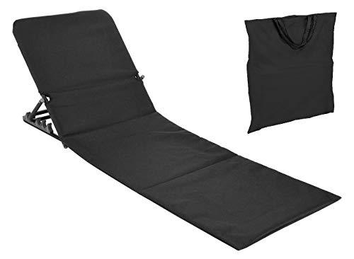 Spetebo Strandmatte faltbar mit Rückenlehne - schwarz - Sonnenliege Strand Liege Matte Gartenliege