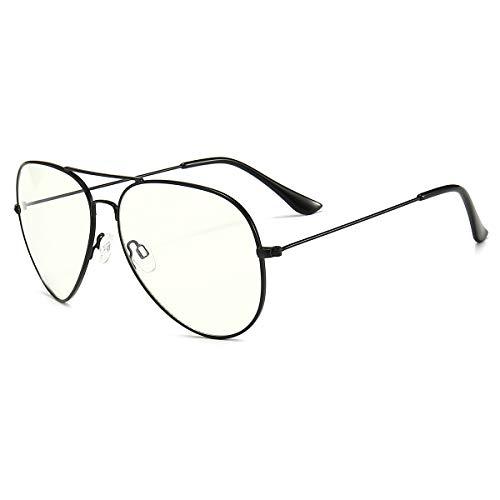 Dollger Blaulichtfilter Brille Computerbrille ohne Sehstärke Anti-Blaulicht Gläser UV Schutz Klassische Metallgestell Brille für Damen Herren Schwarz