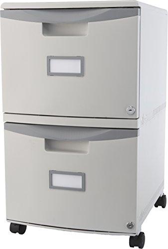 Storex Plastic 2-Drawer Mobile File Cabinet, Letter/Legal, Gray