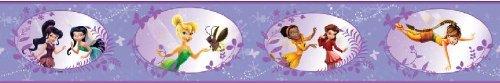 Original Disney Fairies TinkerBell Feen Tapete Bordüre 10M x 10 cm Borte Selbstklebend (Doppelte Länge) NEU Lila/Violett