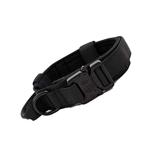 Hemisgin Collares de Perro de Nylon, Collar Perro, Collar ajustable para perros Collar resistente con asa para perros grandes, Anti-Desgaste Entrenamiento táctico al Aire Libre Cinturones de gently