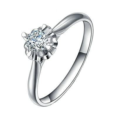Bishilin Pt950 Platino, 4 Prong Rojoondo Diamante 0.2ct con