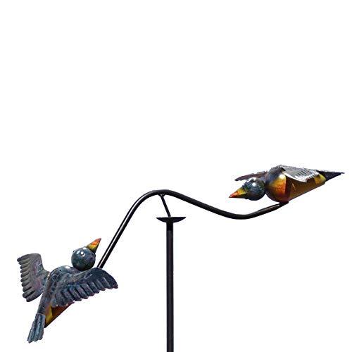 Pommerntraum ®| Windspiel - Gartenpendel - Gartenstecker - Gartendeko - Garten Kunst - Blaue verliebte Vögelchen - Windspiel Vögel