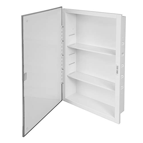 Prime-Line MP59750 Recessed Mirrored Medicine Cabinet, 16 in. x 26 in, Steel Housing & Shelves, Pack of 1