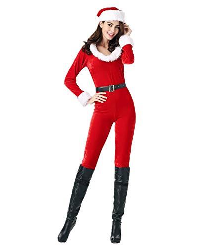 Leright Santa Claus Costume, Onesie Adult, Mrs Santa Jumpsuit Costume, Red, US Size M-L