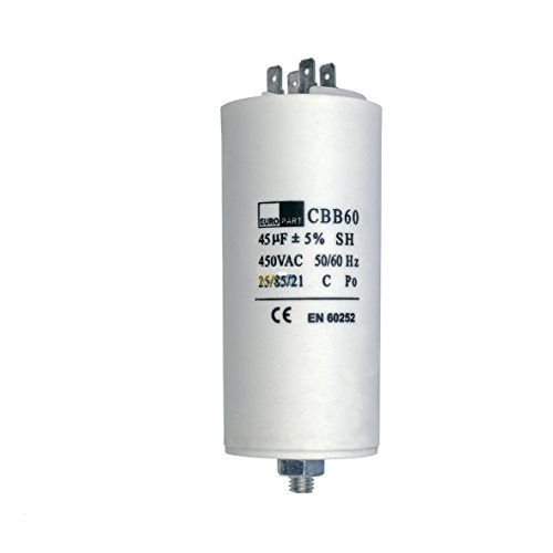 Kondensator Anlaufkondensator Motorkondensator 45 µF uF 450V mit AMP-Steckfahnen