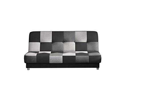 E-MEUBLES Canapé en lit Convertible avec Coffre de Rangement 3 Places Relax - clic clac, Banquette - en Tissu -Kaya (Noir, Gris foncé, Gris Clair (Sawana14+05+21)) Patchwork