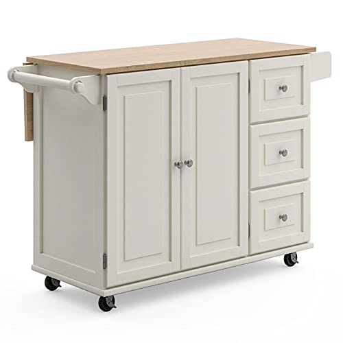Homestyles Dolly Madison Mobile Kitchen Island Cart with Drop Leaf Breakfast Bar, Off-White