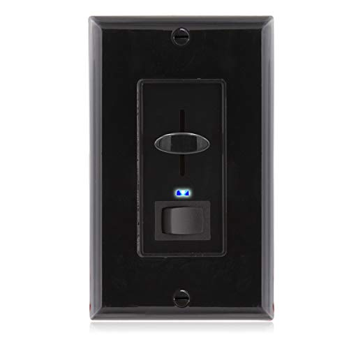 Maxxima 3-Way/Single Pole Dimmer Electrical Light Switch With Blue Indicator Light 600 Watt max, LED Compatible, Wall Plate Included, Black