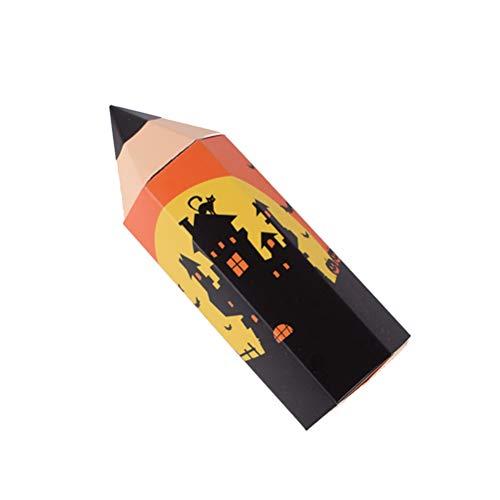 PRETYZOOM - Caja de regalo con dibujos animados, cajas de regalo para Halloween, portalápices, cajas de regalo para Halloween, color naranja