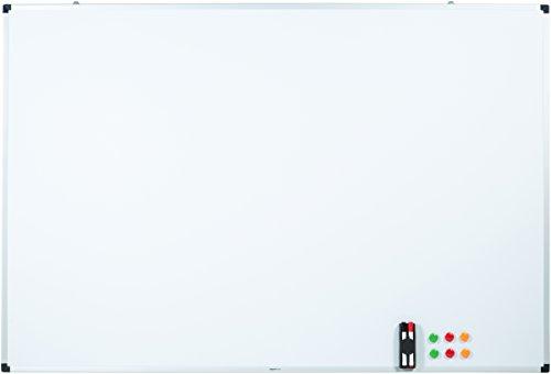 Amazon Basics - Lavagna bianca, cancellabile a secco, con supporto porta-pennarelli e bordi in alluminio, 180 cm x 120 cm