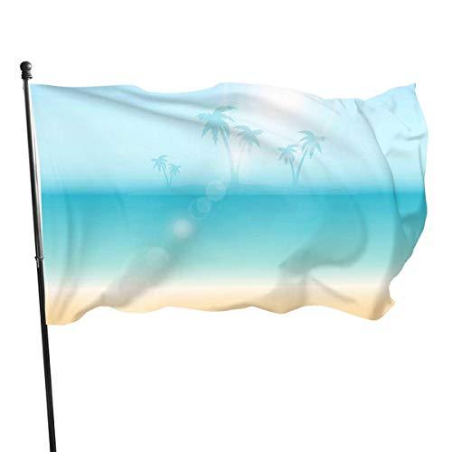 Wetterfeste Palmen in der Ferne Gartenflagge, Demonstrationsflagge - 3 x 5 ft