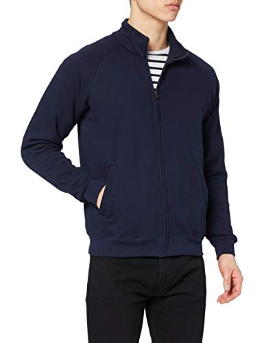 Fruit of the Loom Zip Front Classic Felpa, Blu Scuro, L Uomo
