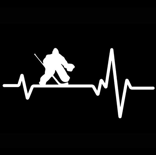 Fahrzeug Autoaufkleber 16,2 CM * 7,5 CM Fun Hockey Goalie Pads Puck Heartbeat Line Vinyl 2 Stück