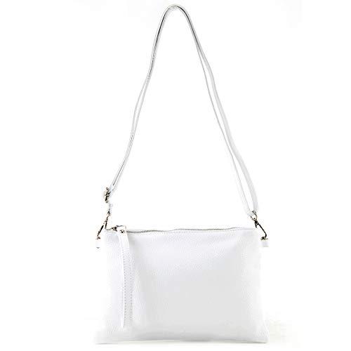 modamoda de - T186 - Pochette italiana in pelle con tracolla media, Colore:Bianco