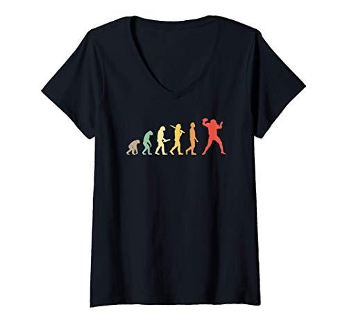 Mujer Regalo de la evolución del fútbol americano Camiseta Cuello V