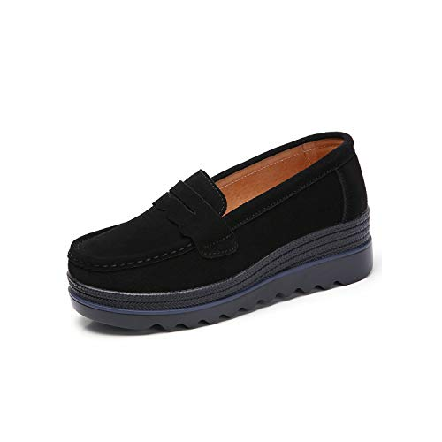 HEY! WARM HOME Women Flats Shoes Platform Sneakers Shoes Leather Suede Casual Shoes Slip On Flats Heels,8775 Black,11