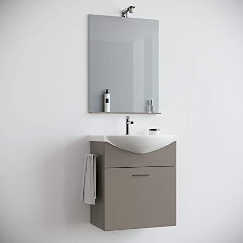 MarinelliGroup Mobile Bagno salvaspazio sospeso 60 cm Tortora Opaco con lavabo in Ceramica Specchio e Luce Papavero