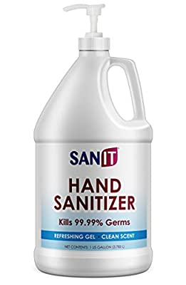 Sanit Moisturizing Hand Sanitizer Gel 70% Alcohol - Kills 99.99% Germs, Advanced Formula with Vitamin E andAloe Vera - Soothing Gel, Fresh Scent, Made in USA - 1 Gallonwith Easy to Use Pump