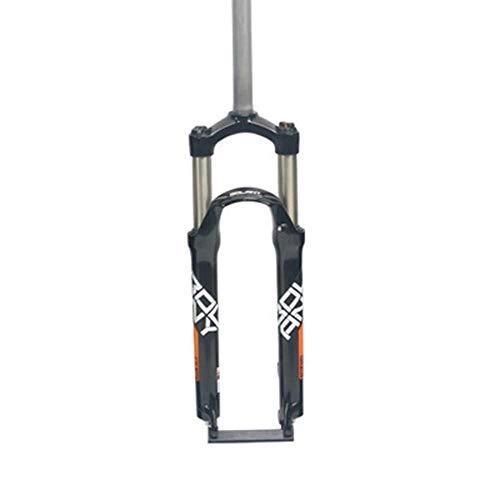 WRJY 26/27.5/29 Inch Mountain Bike Front Fork,Suspension Fork,Aluminum Alloy Suspension Fork,Double Shoulder Control,Gas Shock Absorber,9 X 100mm,105mm Travel,Straight Steerer