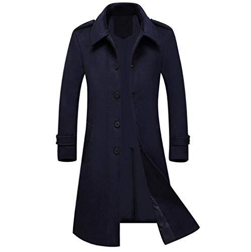 LJXWH Veste d'hiver, Cardigan en Laine Manteau d'affaires Trench-Coat à Revers (Couleur : Bleu, Taille : M)