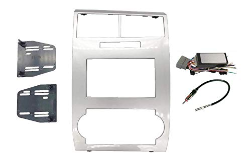 Radio Stereo Car Install Double Din Navigation Silver Bezel Can Bus Factory Amplified Systems Wire Harness & Antenna Adapter Compatible with Dodge Charger 2006 2007 Dodge Magnum 2005-2007