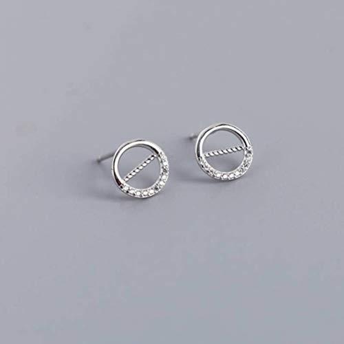 Estilo Coreano S925 Aretes de Plata Esterlina Oro Blanco Redondo Calado con Diamantes Tendencia Simple Combina Todos Los Aretes Aretes Pendientes de Mujer Aretes, WOZUIMEI, Como se muestra