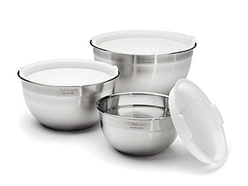 Cuisinart Set of 3 Stainless Steel Mixing Bowls with Lids