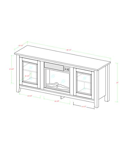 New 58 Inch Wide Black Fireplace Television Stand with Glass Doors