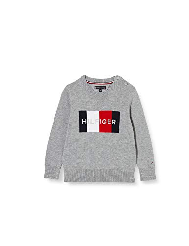 Tommy Hilfiger Jungen Th Logo Sweater Pullover, Grey, 16