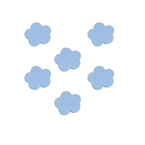 6 Un. TIRADOR Pomo Mueble BEBÉ Nube madera lacada azul 68x58mm