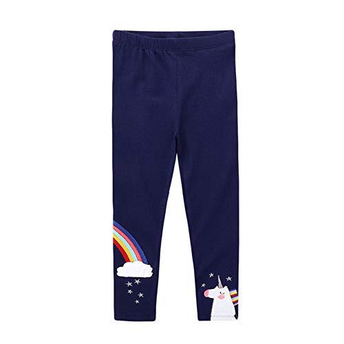 Baotung Leggings para niña con diseño de unicornio, algodón elástico Color azul arcoíris. 104-110 cm