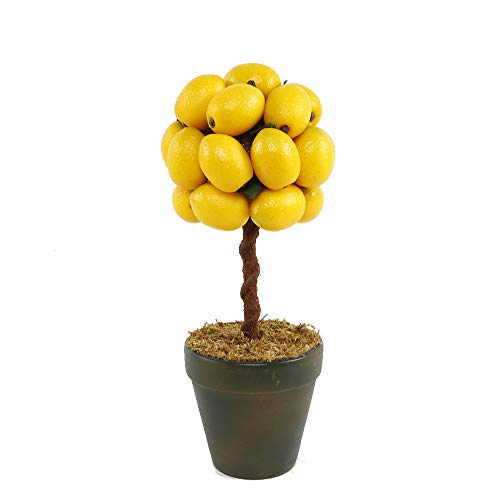 Flora Bunda 11' Tall Faux Artificial Fake Lemon Topiary Mini Tree in Ceramic Pot for Home Office Decorations