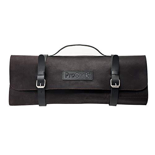 ProCook Messer-Rolltasche aus Leder - Messertasche - Messeraufbewahrung - 8 Fächer - aus echtem Leder - unbestückt