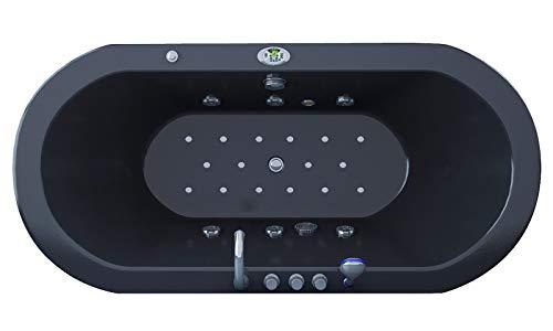 Jet-line Bañera de hidromasaje Villa Sofia, color negro, completo equipo de calefacción, ozono, LED, ovalada, ducha de mano, spa interior, con panel de control de aire y chorros de agua