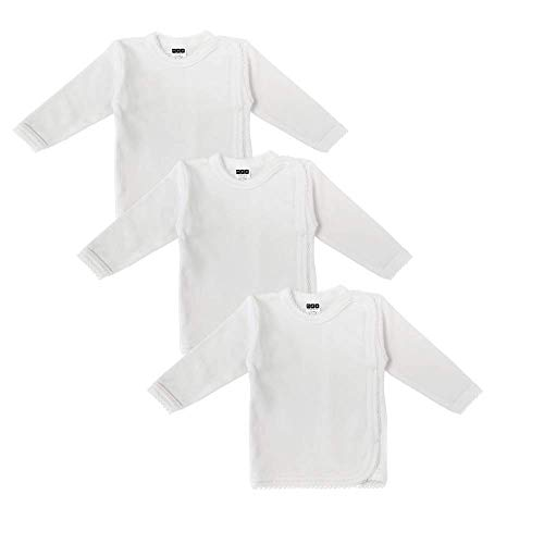 MEA BABY Unisex Baby Wickelshirt Wickeljacke Langarm, 100% Bio-Baumwolle im 3er Pack. Wickelshirt Weiss (Creme), Wickelshirt für Mädchen, Wickelshirt für Junge, 56, Jungen