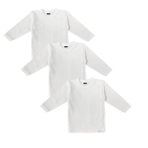 MEA BABY Unisex Baby Wickelshirt Wickeljacke Langarm, 100% Bio-Baumwolle im 3er Pack. Wickelshirt Weiss (Creme), Wickelshirt für Mädchen, Wickelshirt für Junge (68)