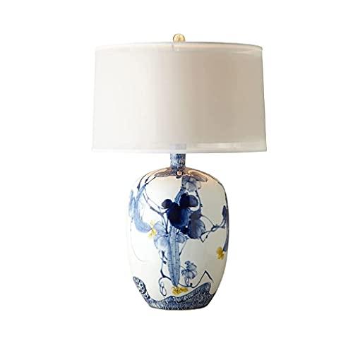 SPNEC Lámpara de Mesa de cerámica Pintada a Mano Azul Nueva Moderna China Lámpara de Mesa Modelo Retro Sala de Estar Dormitorio Noche lámparas Decorativas