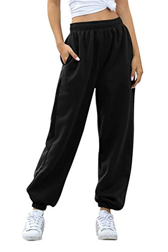Women's Cinch Bottom Sweatpants Pockets High Waist Sporty Gym Athletic Fit Jogger Pants Lounge Trousers (Black A, M)
