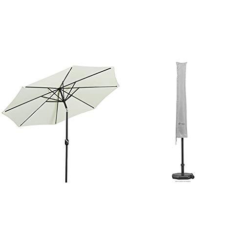 Gartenfreude Sonnenschirm, creme, 300 x 300 x 250 cm, 4900-1005-100 & Schneider Schutzhülle für Sonnenschirm, silber, bis ca. 300 cm Ø